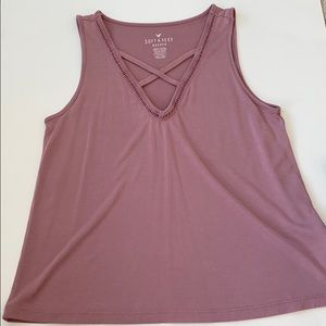 american eagle cross front tank top
